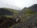 Waterfall coming out from the pass
