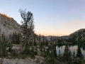 sunset and alpine lake